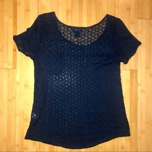 LUCKY BRAND CROCHET KNIT SHORT SLEEVE TOP LARGE